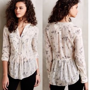 Anthropologie Maeve Pintucked Popover Blouse Top